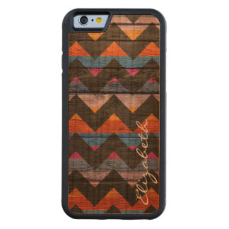 Wood Colorful Chevron Stripes #20 Carved Cherry iPhone 6 Bumper Case