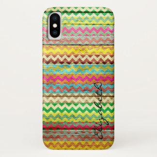 Wood Colorful Chevron Stripes Monogram iPhone X Case