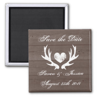 Wood country chic deer antler save the date magnet