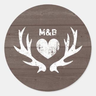 Wood country chic deer antler wedding stickers