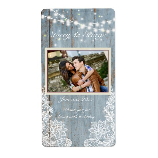 Wood, Country Lace, Wedding Wine Shipping Label