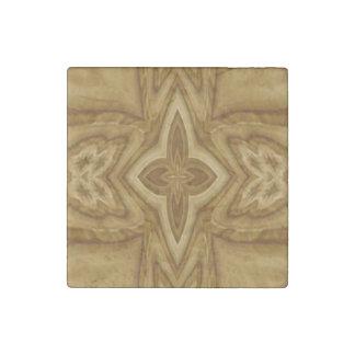Wood Cross Pattern Stone Magnet