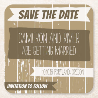 Wood Effect Save the Date Coaster