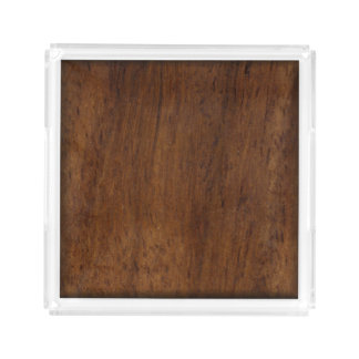 Wood Elegant Dark Wooden Texture Acrylic Tray