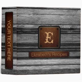 Wood Elegant Monogram Leather Look #24 Vinyl Binders