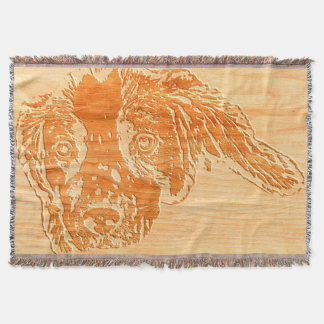 Wood Engraving Effect Spaniel Puppy Throw