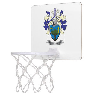 Wood Family Crest Coat of Arms Mini Basketball Hoop