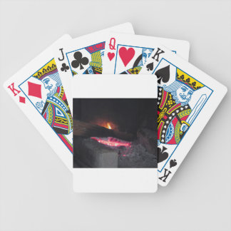 Wood fire flame heat spires burning in fireplace bicycle playing cards