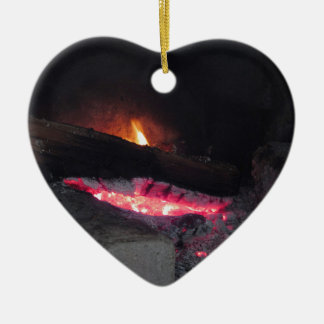 Wood fire flame heat spires burning in fireplace ceramic ornament