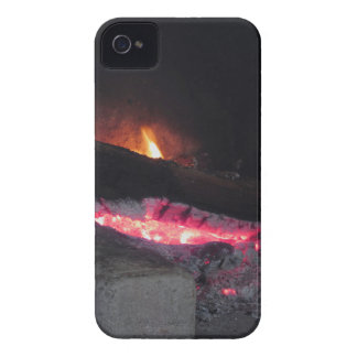 Wood fire flame heat spires burning in fireplace iPhone 4 case