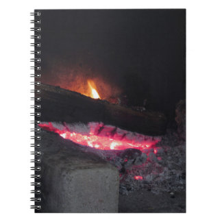 Wood fire flame heat spires burning in fireplace notebook