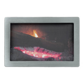 Wood fire flame heat spires burning in fireplace rectangular belt buckles