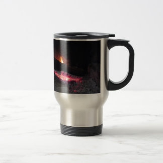 Wood fire flame heat spires burning in fireplace travel mug