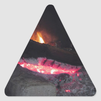 Wood fire flame heat spires burning in fireplace triangle sticker