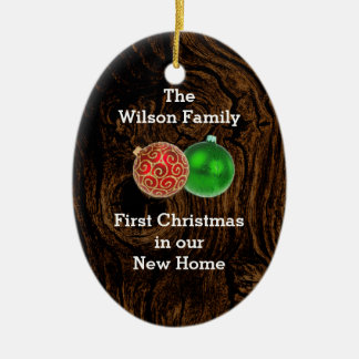 Wood First Christmas in New Home Custom Ornament