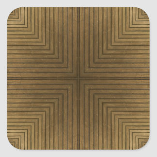 Wood Floor Kaleidoscope Pattern Square Sticker
