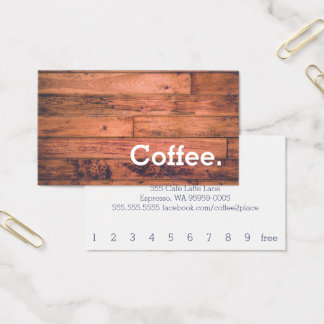 Wood Floor Simple Loyalty Coffee Punch-Card Business Card