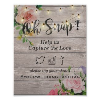 Wood Floral String Light Snap Hashtag Wedding Sign