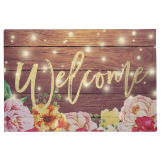 Wood Floral String Lights Gold Script Welcome Mats