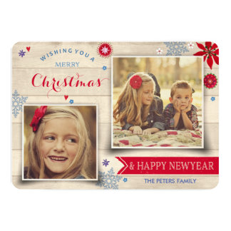Wood & Flowers Christmas | Holiday Photo Card