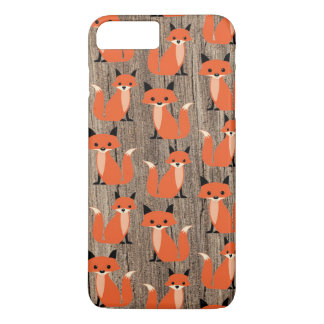 Wood fox cute retro whimsical hipster foxes vintag iPhone 8 plus/7 plus case