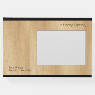 Wood Frame B Template Funeral Guest Book Add Image