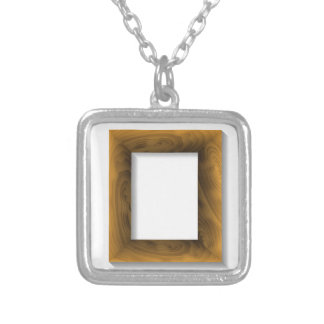 wood frame silver plated necklace