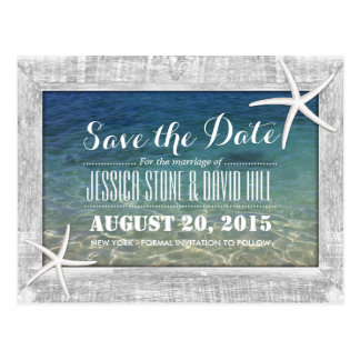 Wood Framed Starfish Beach Wedding Save the Date Postcard
