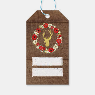 Wood Gold Deer Wreath Christmas Gift Tags Pack Of Gift Tags
