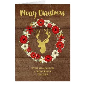 Wood Gold Deer Wreath Christmas Teacher Greeting Card
