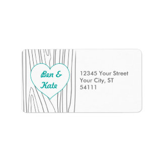 Wood Grain Address Labels - Teal and Grey