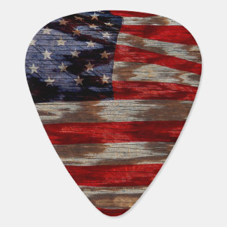 Wood grain American flag Pick