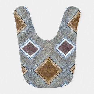 Wood Grain and Silver Checkered Pattern Bibs