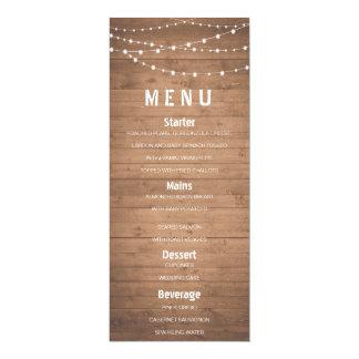 "Wood grain and string lights rustic menu 4"" x 9.25"" invitation card"