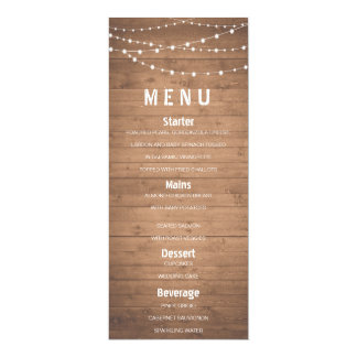 Wood grain and string lights rustic menu card