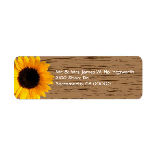 Wood Grain and Sunflower Custom Return Address