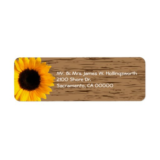 Wood Grain and Sunflower Custom Return Address Labels