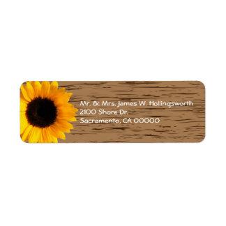 Wood Grain and Sunflower Custom Return Address Return Address Label