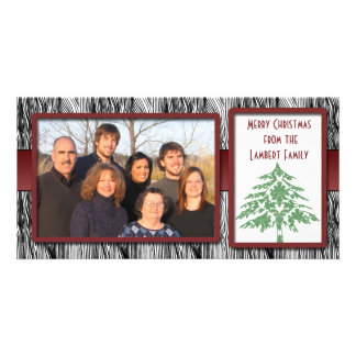 Wood Grain Green Damask Tree Photo Cards
