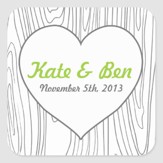 Wood grain heart wedding favor stickers