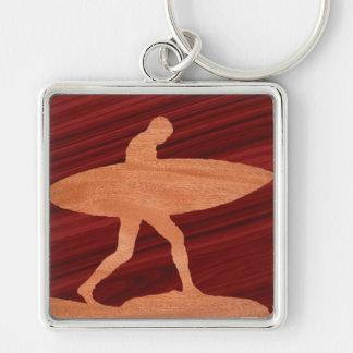 Wood Grain Inlay Surfer Keychain