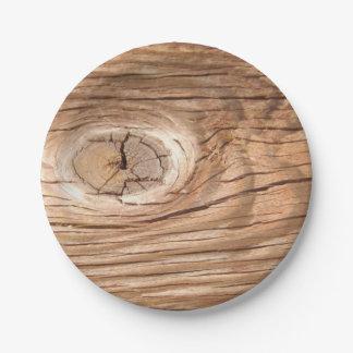 Wood Grain Knothole Paper Plates