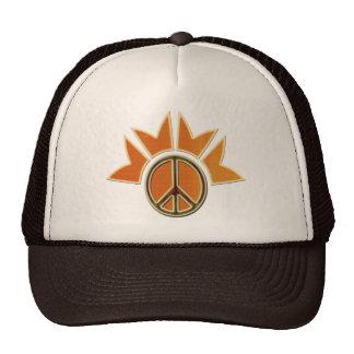 WOOD GRAIN PEACE SIGN MESH HAT