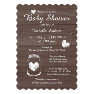 Wood grain rustic mason jar baby shower invitation
