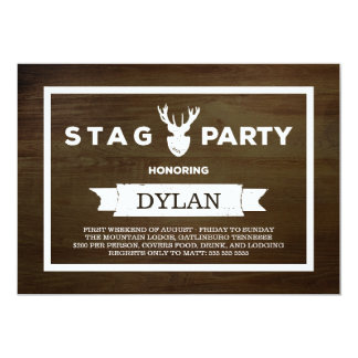 Wood Grain Stag Party Card