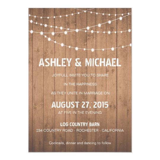 Wood Grain suite Wedding invitation barn style