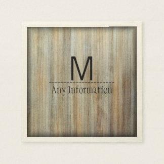 Wood Grain Texture Monogram #2 Paper Napkin