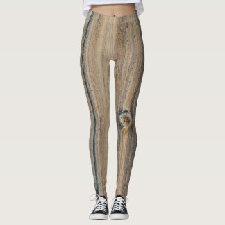 Wood grain textures in brown shades leggings