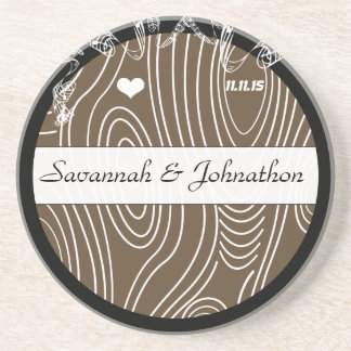 Wood Grain Tree Save the Date Coaster