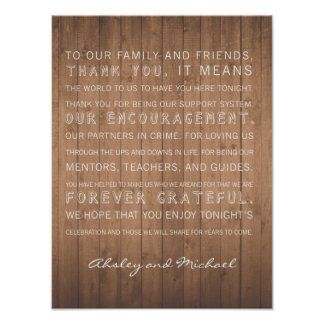 Wood Grain wedding thank you sign rustic Poster